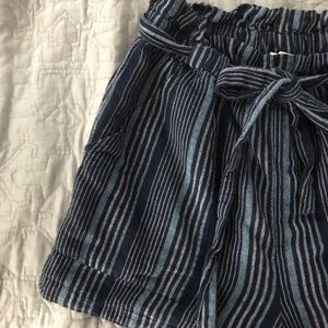 American Eagle Navy Striped Paperbag Shorts